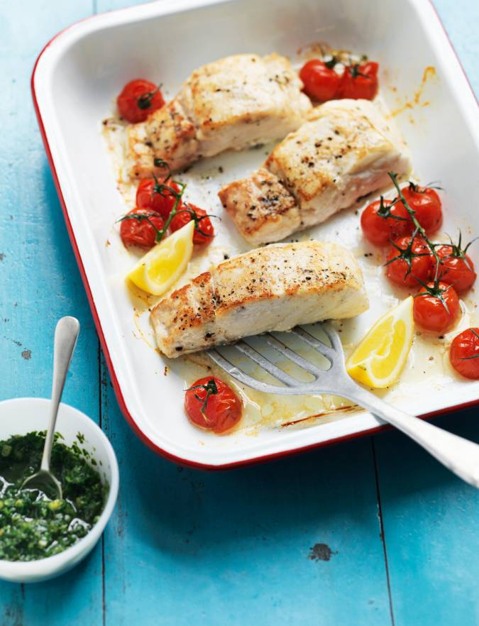 Recipe: Hake with tomatoes and cucumber salsa verde