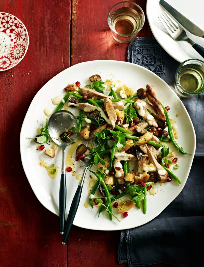 Recipe: Warm pheasant salad with croutons and cider dressing