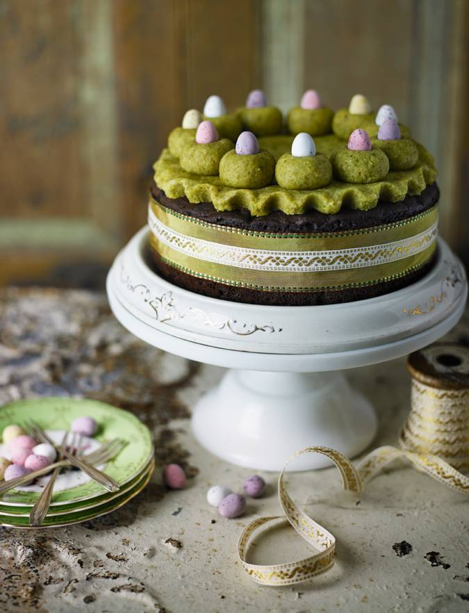 Recipe: Chocolate orange Simnel cake with pistachio marzipan