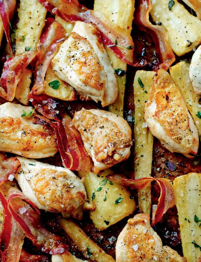 Recipe: Chicken, pancetta and maple syrup traybake