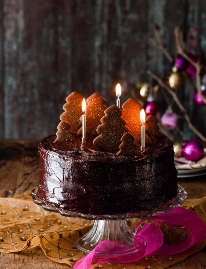 Astonishing Double Fudgey Chocolate Cake With A Gingerbread Forest Funny Birthday Cards Online Hetedamsfinfo