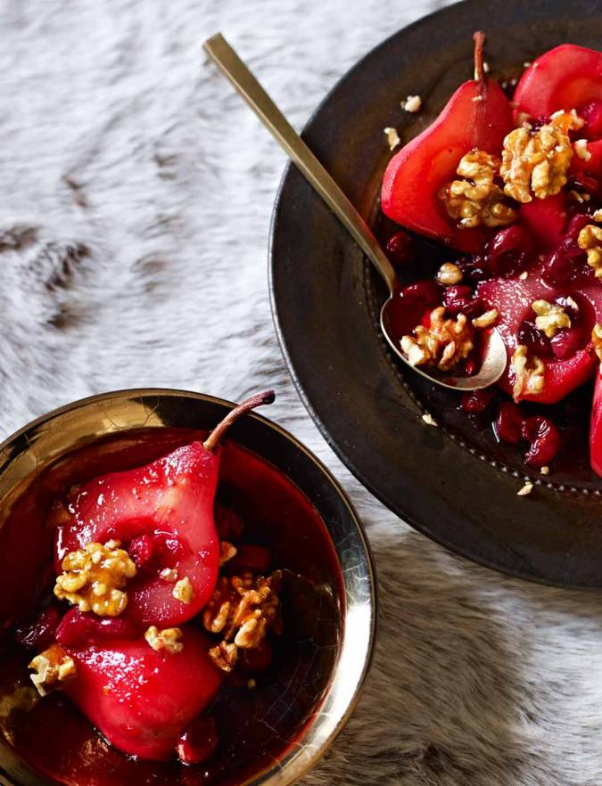 Recipe: Roasted pears with cranberries and candied walnuts
