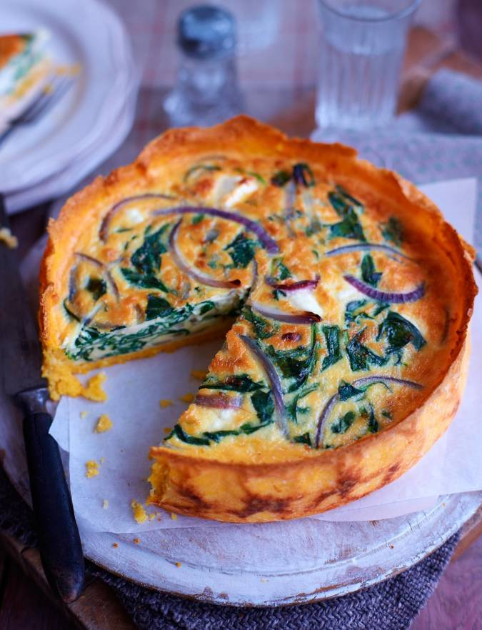 Recipe: Spinach, red onion and feta quiche with a polenta crust