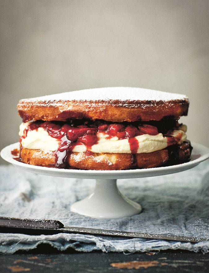 Recipe: Victoria sponge with limoncello and balsamic strawberries