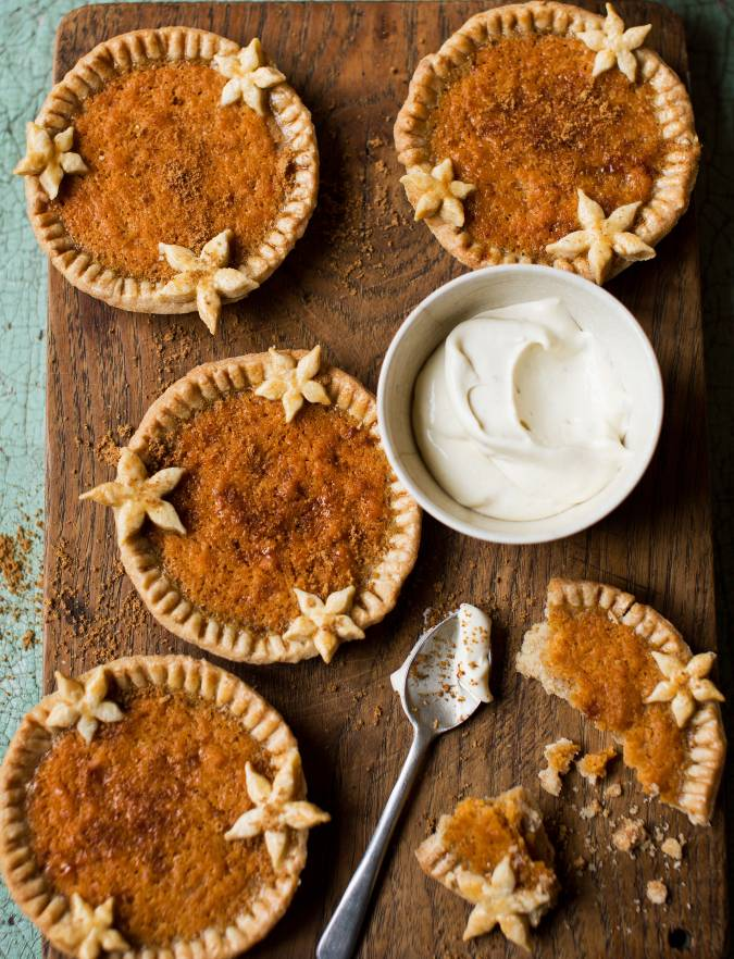 Recipe: Pumpkin custard tartlets with blue cheese Chantilly