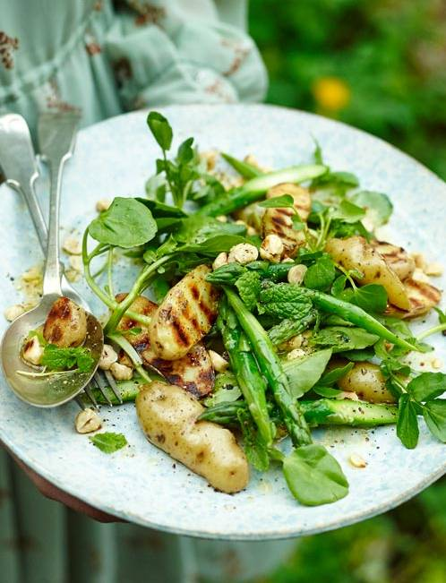 Recipe: Griddled new potatoes with asparagus and hazelnuts