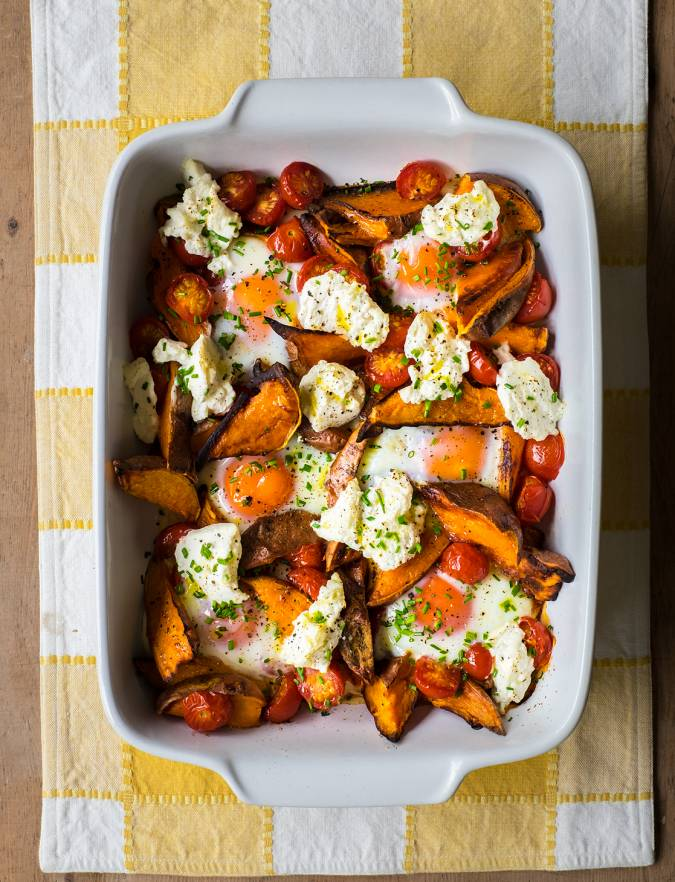 Recipe: Spicy sweet potato, tomato, ricotta and egg bake