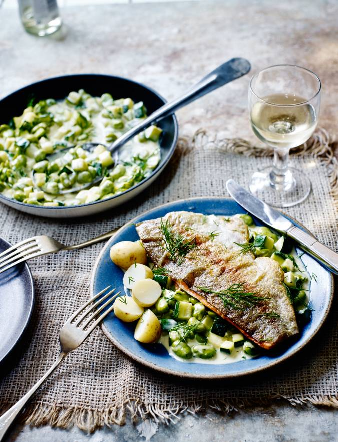Recipe: Trout, broad beans & courgettes in a wine & cream sauce