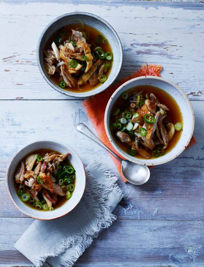 Recipe: Pulled chicken and shiitake mushroom broth