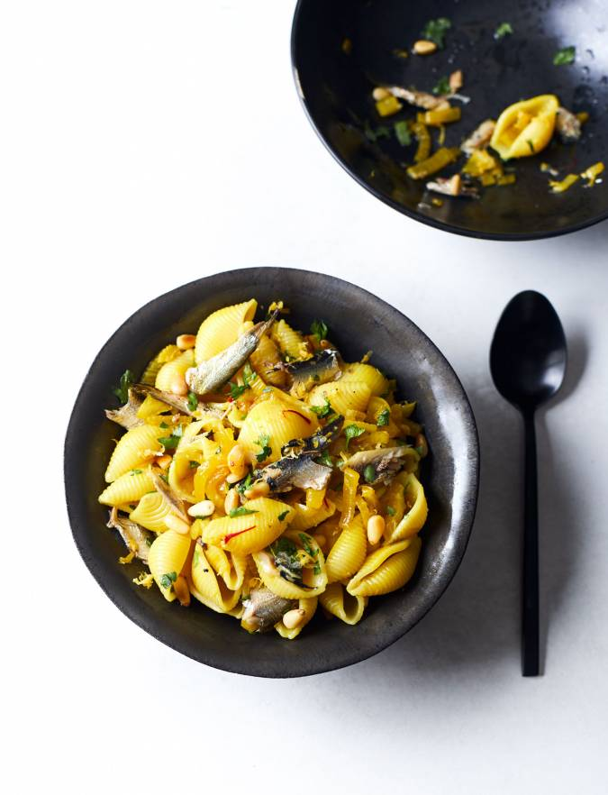 Recipe: Pasta shells with sardines, fennel and saffron