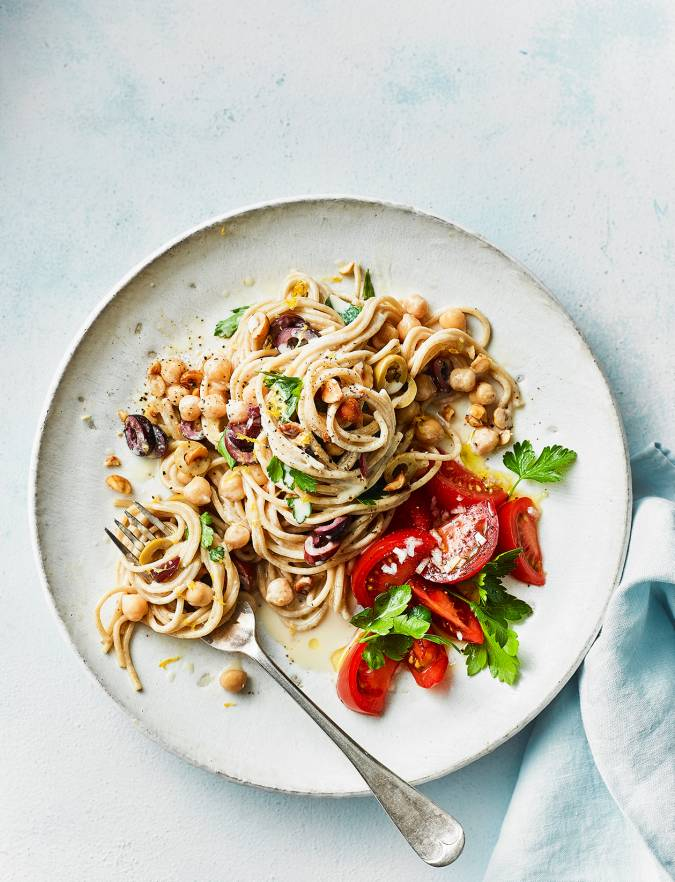 Recipe: Tahini and olive spaghetti with tomato salad