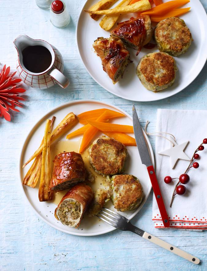 Recipe: Turkey & stuffing roulades with sprout and chestnut potato cakes