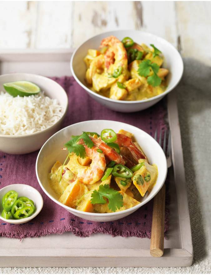 Recipe: Spiced squash and prawns with coconut and chilli