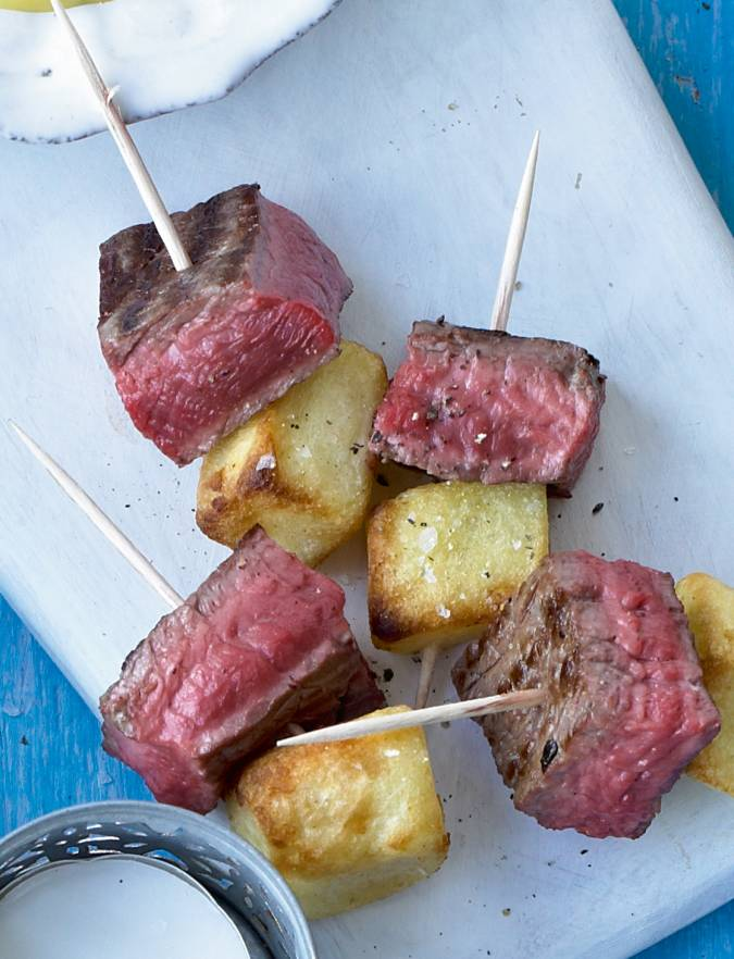 Recipe: Steak and frites skewers