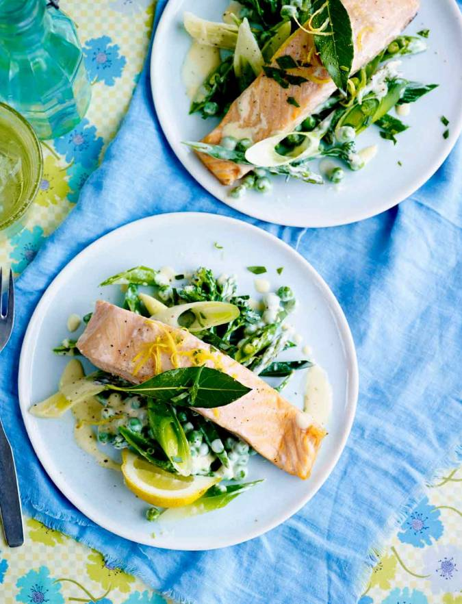 Recipe: Bay-steamed salmon with tarragon veg