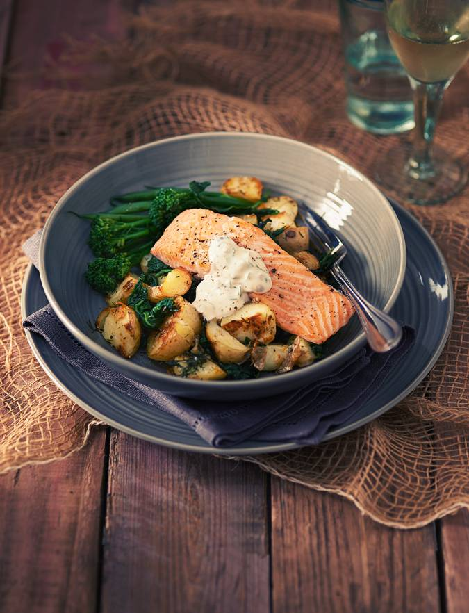Recipe: Roast salmon fillets with a crème fraîche and caper sauce