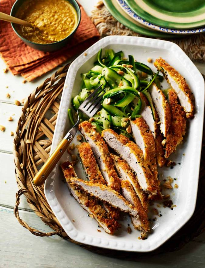 Recipe:  Crumbed katsu-style chicken with peanut salad