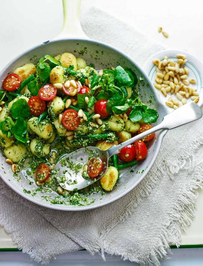 Recipe: Pan-fried gnocchi with watercress-mint pesto