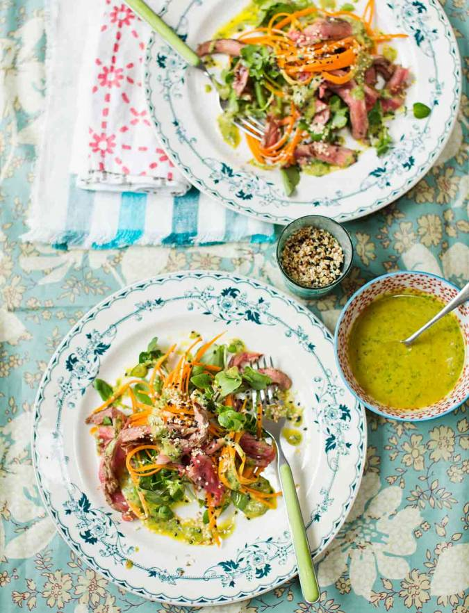 Recipe: Seared beef salad with carrot noodles and tahini dressing