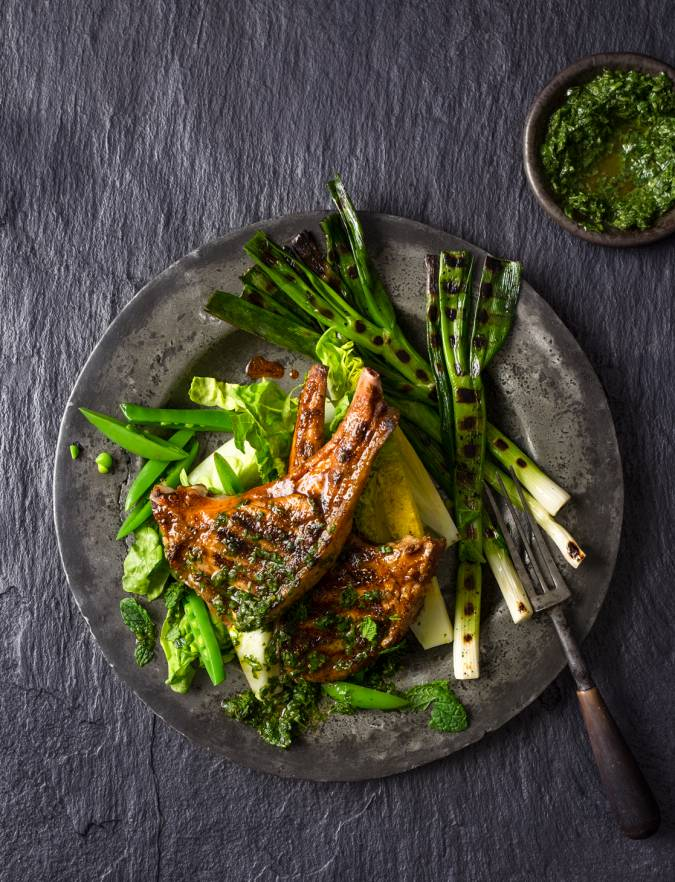 Recipe: Barbecued chermoula lamb chops with herb sauce