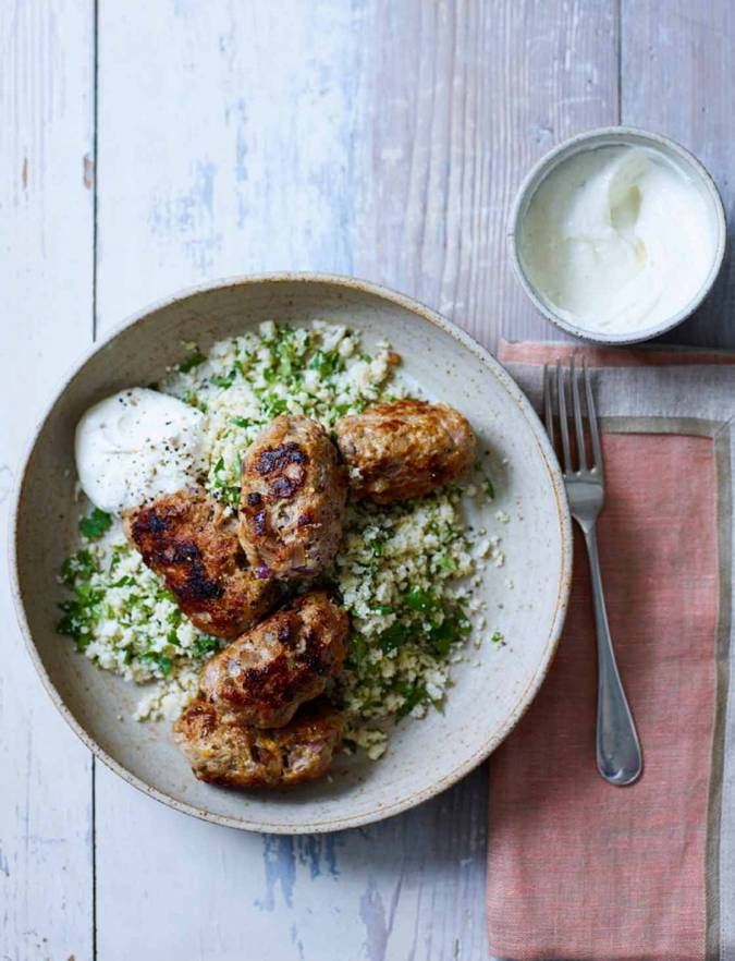 Recipe: Pork kebabs with spicy cauliflower couscous