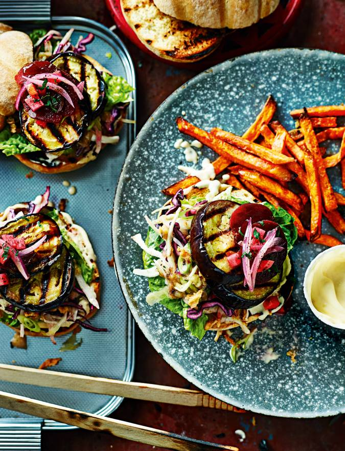 Recipe: Roasted aubergine burger with quick pickles