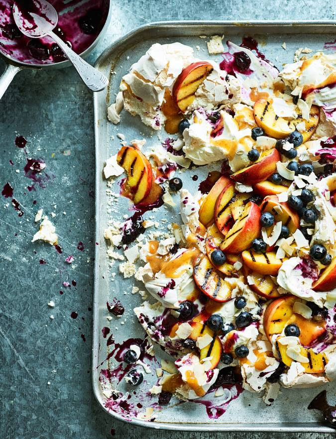 Recipe: Blueberry, peach and coconut pavlova smash