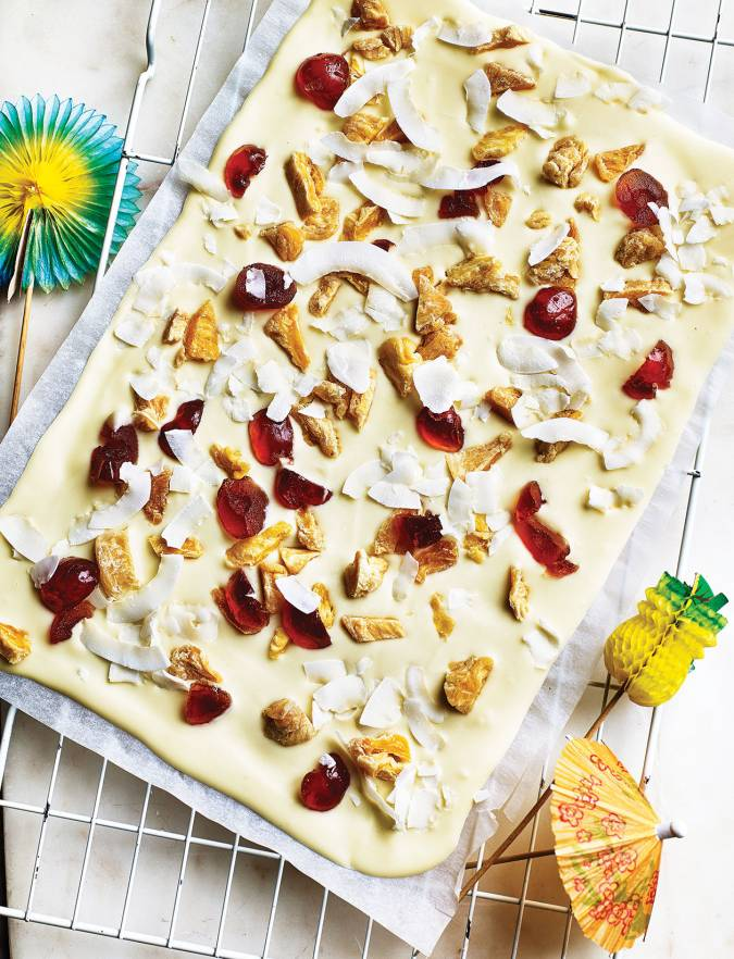 Recipe: Pina colada white chocolate bark