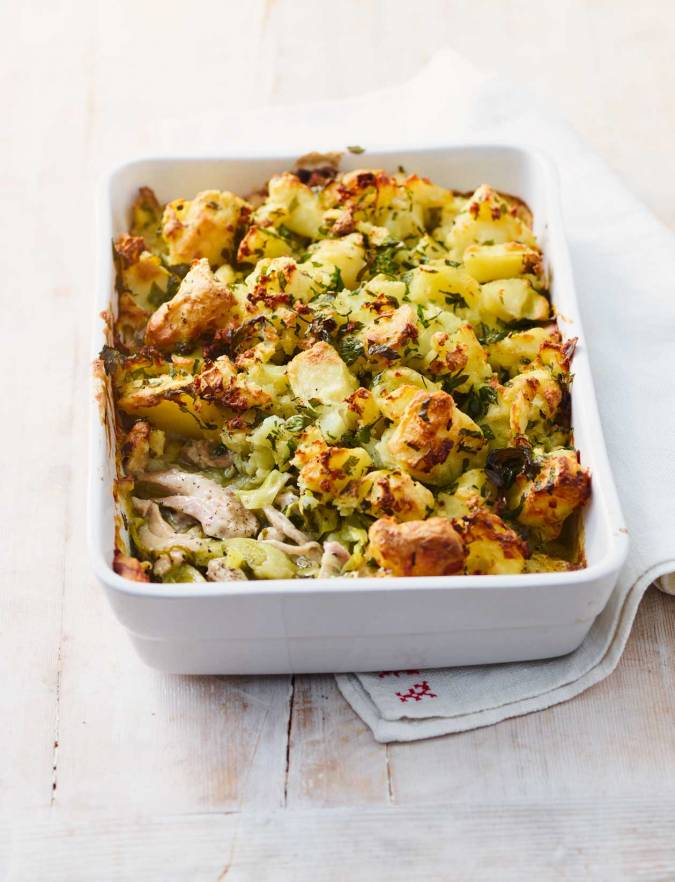 Recipe: Chicken and leek pie with crispy potato topping