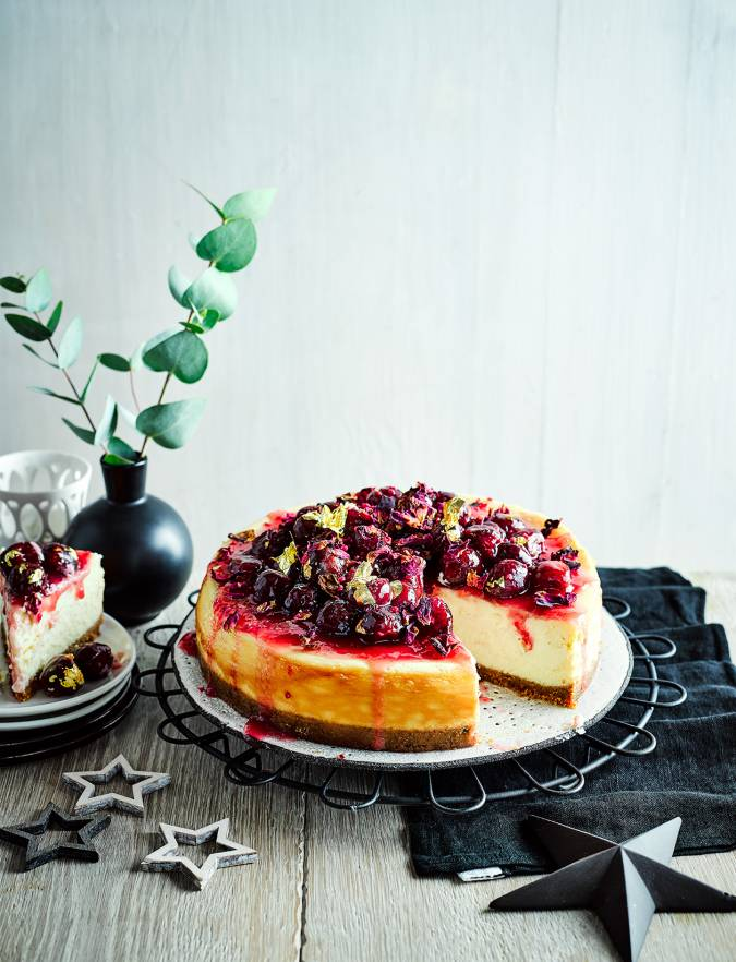 Recipe: Spiced white chocolate and cherry cheesecake