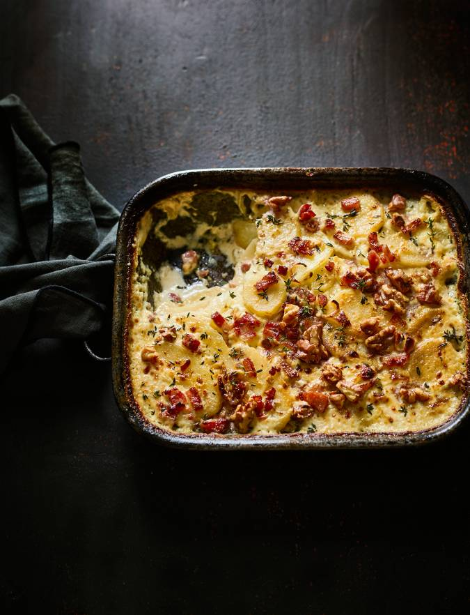 Recipe: Potato and parsnip gratin with bacon and walnuts