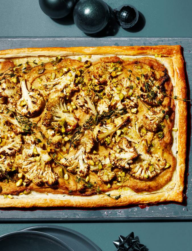 Recipe: Spiced cauliflower tart with thyme and pistachios
