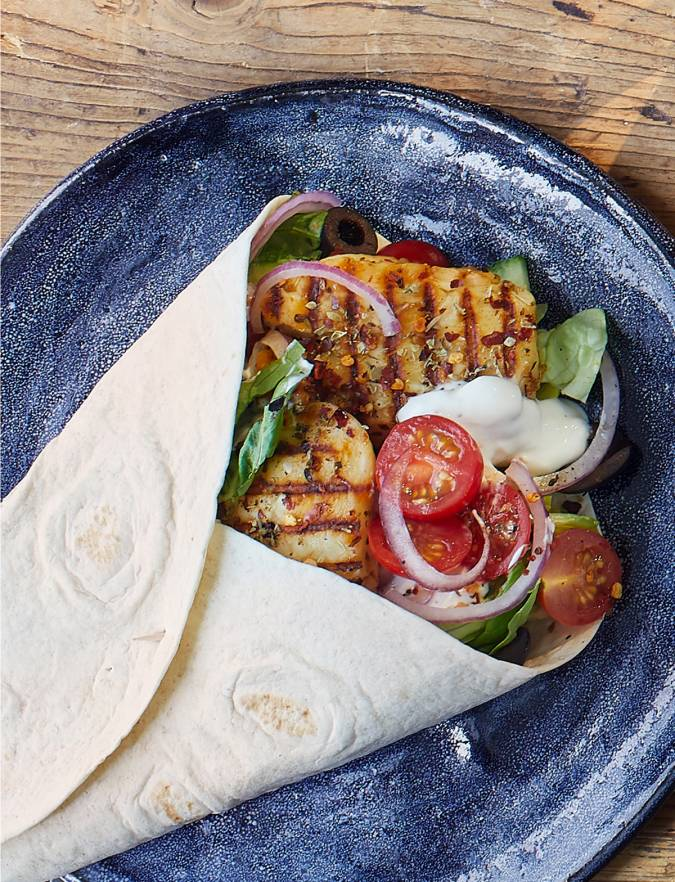 Recipe: Greek halloumi wraps