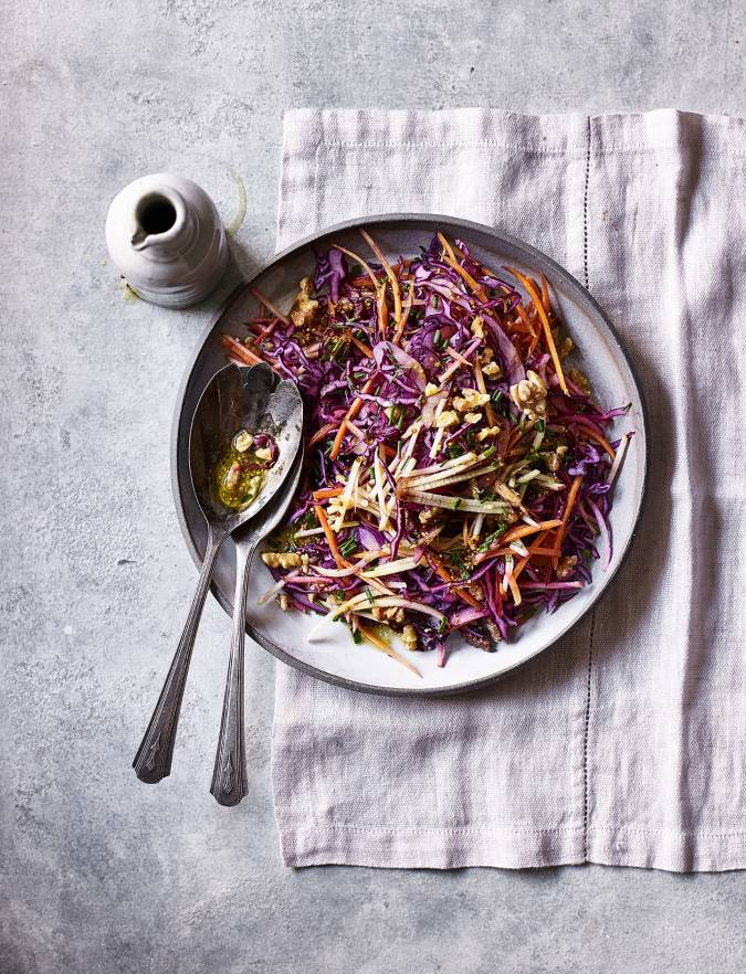Recipe: Red cabbage, apple and walnut slaw