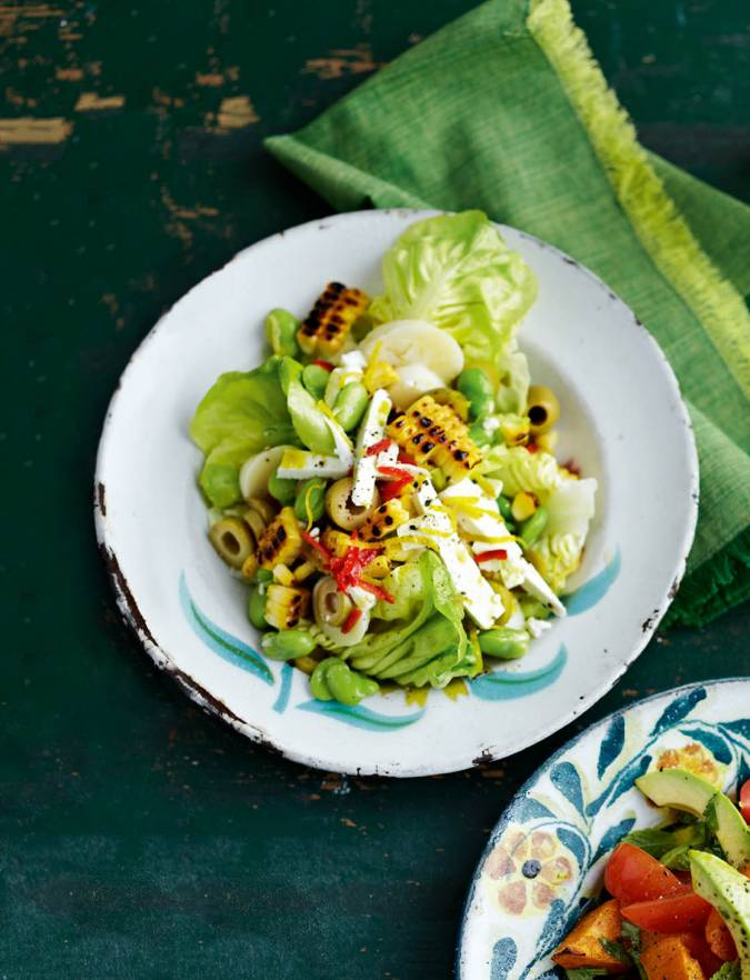 Recipe: Spicy broad bean, corn and olive salad