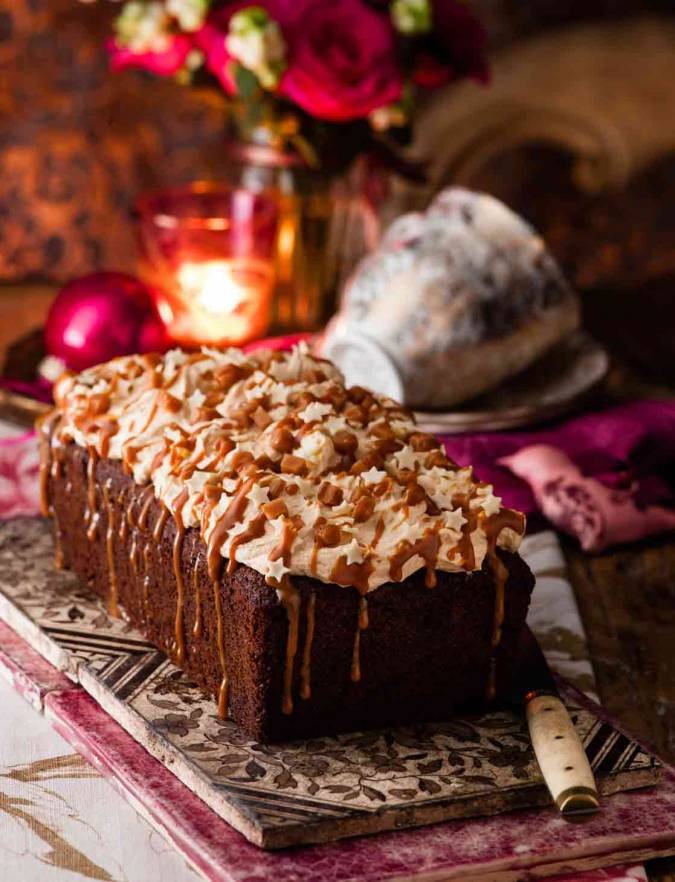 Recipe: Butterscotch date loaf cake with caramel icing