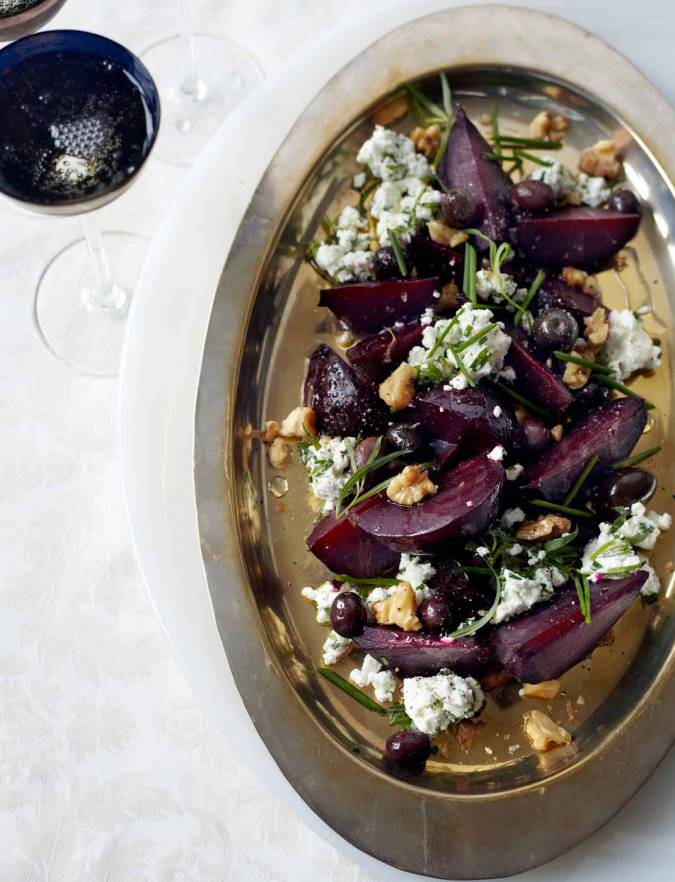 Recipe: Baked beets with goats' cheese, toasted walnuts and olives