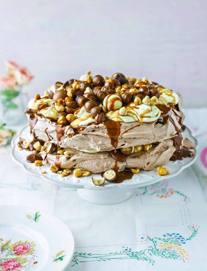 Recipe: Very chocolatey salted caramel and hazelnut pavlova
