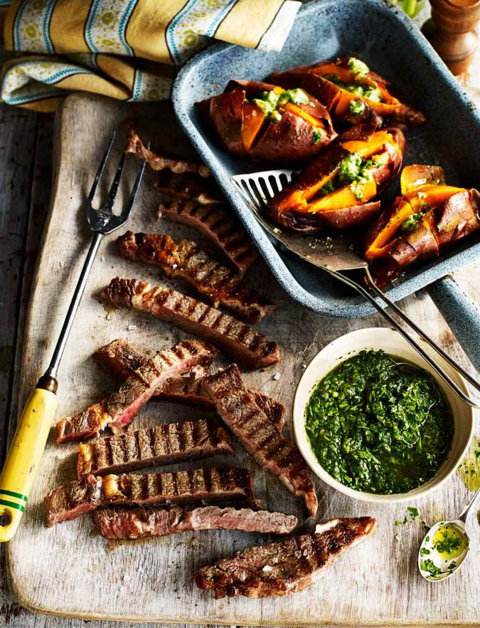 Recipe: Steaks with chimichurri salsa and baked sweet potatoes