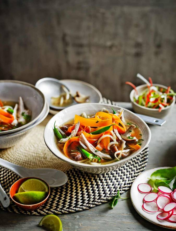 Recipe: Chicken and mushroom pho with carrot noodles