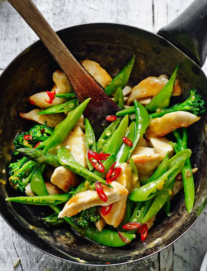 Recipe: Orange sticky chicken with three green veg