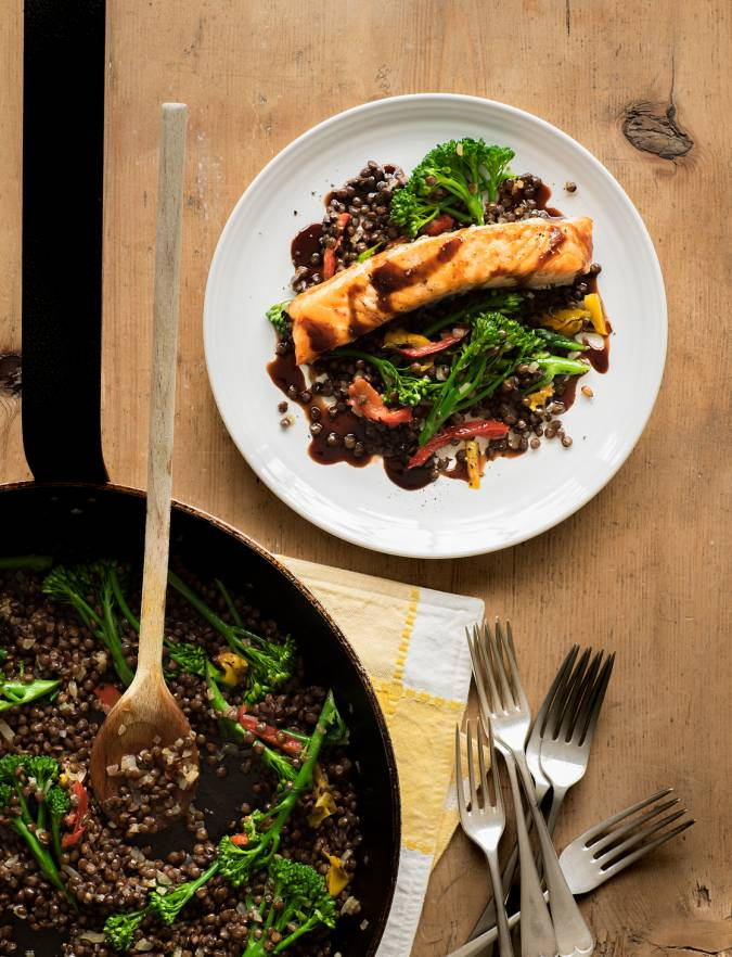 Recipe: Grilled salmon and Puy lentil salad