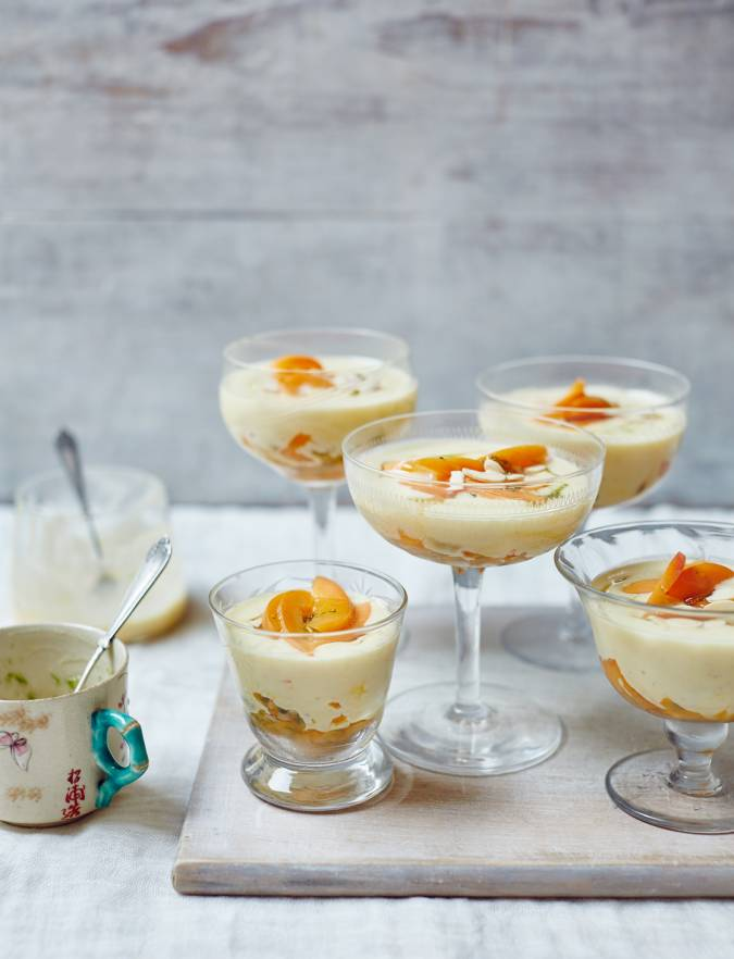 Recipe: White chocolate creams with apricots, passion fruit and lime