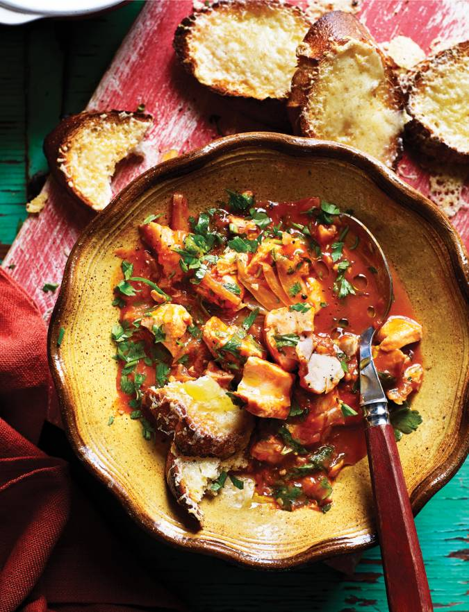 Recipe: Mediterranean fish stew with cheese toasts