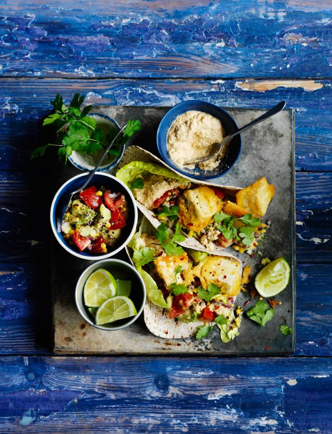 Recipe: Beer-battered tofu tacos with a chipotle cashew 'soured cream'