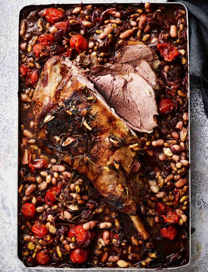 Recipe: Slow-cooked leg of lamb with beans and tomatoes