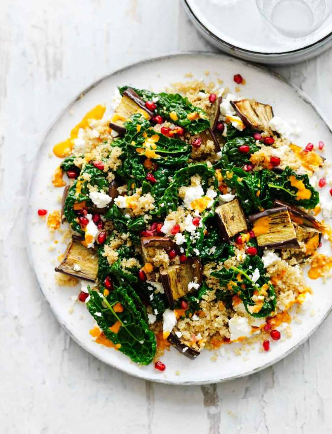 Recipe: Feta, aubergine, pomegranate and harissa salad