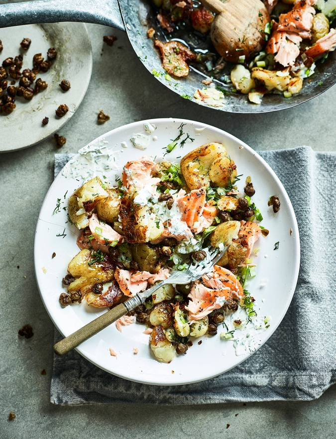 Recipe: Smashed salmon hash