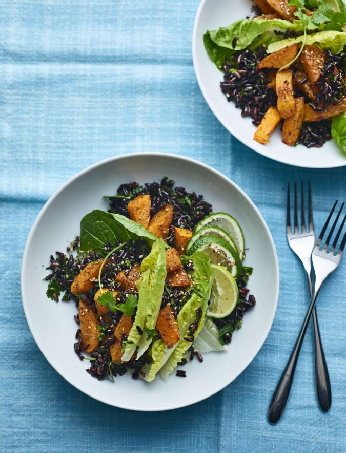 Recipe: Butternut squash and black rice bowl