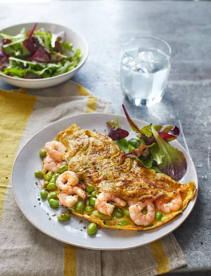 Recipe: Prawn, edamame and spring onion omelette